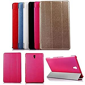 MOM KARZEASilk Stripe Tri-Fold PU Leather Case with Stand and Stylus for Samsung Tab S'8.4 T700 , Red