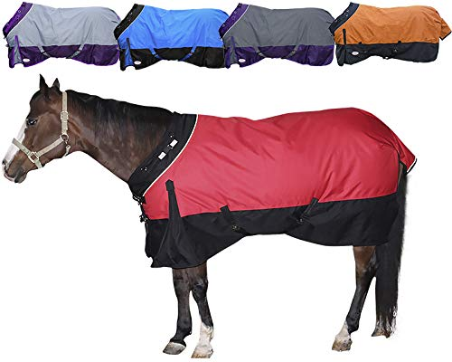 Derby Originals Windstorm Series Reflective Safety 1200D Ripstop Waterproof Nylon Horse Winter Turnout Blanket with 300g Insulation - Two Year Limited Manufacturer's Warranty, Red/Black