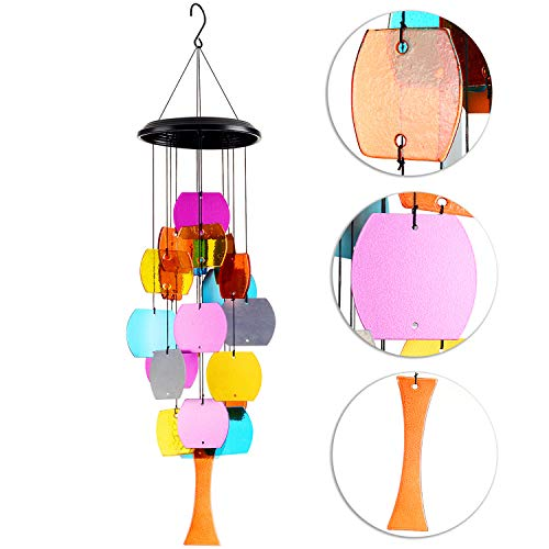 (DateDirect Outdoor Wind Chime Colorful Stained Glass Wind Chime, 26