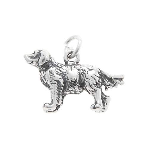 Sterling Silver 3D Golden Retriever Dog Charm Pendant - Jewelry Making Supply by Charm Crazy