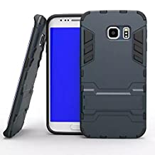 S6 Edge Case, Lantier [Tire Design Skin] 2 In 1 Combo Rugged Dual Layer [Heavy Duty Case] Detachable Hybrid Slip Robot Impact Advanced Armor Soft Silicone Cover Hard Snap On Case for Samsung Galaxy S6 Edge with Kickstand Tuff Symbiosis Anti-Scratch, Anti-Slip Protection with Stylus Pen Black