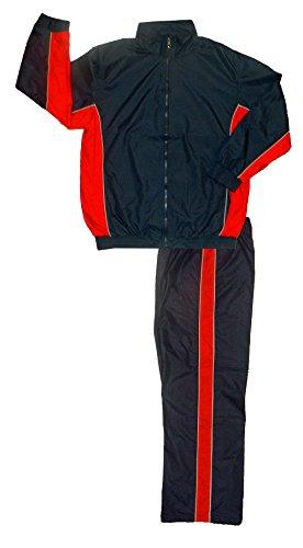 Men's Nylon Athletic Full Zip Mesh Lined Running Track Suit Set,Small,Navy/Red/White
