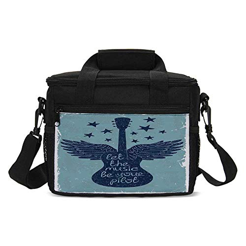 (Music Decor Lightweight Lunch Bag,Let the Music Be Your Pilot Quote Winged Electronic Guitar and Stars Retro Graphic Print for Daily Use,One size)