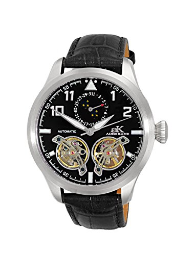 Adee Kaye Men's Stainless Steel and Leather Automatic Watch, Color Black (Model: AK5663-MBK)