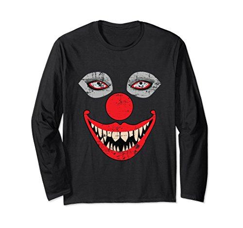 Scary Clown Face Long Sleeve T-Shirt Bizarre Halloween Shirt
