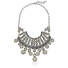 "Lucky Brand Silver Pave Ball Collar Necklace, 18"" + 2"" Extender"