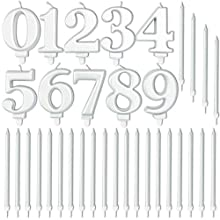Number 0-9 Birthday Cake Candle Set with Holders (Silver, 34 Pack)