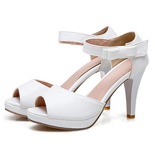 White Women Peep Heel High Sandals Toe TAOFFEN qzfUxq