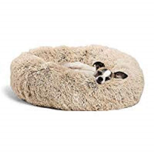 Best Friends by Sheri Calming Shag Vegan Fur Donut Cuddler (23x23) - Small Round Donut Cat and Dog Cushion Bed, Warming and Cozy for Improved Sleep - Prime, Machine Washable - Small Pets Up to 25 lbs (Pillow Puppy Shaped)