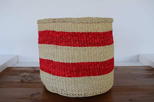 African Basket Kiondo - Handmade in Kenya - Medium, 10'' Height x 10'' Wide - Parmesan Tan, Ruby Red KK12