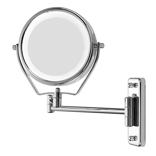 Supersail 1X &7X Magnifying Double Sided Vanity Makeup Mirror with Light, 6 inch, Wall Mount, Round, Chrome (Mirror Shave)