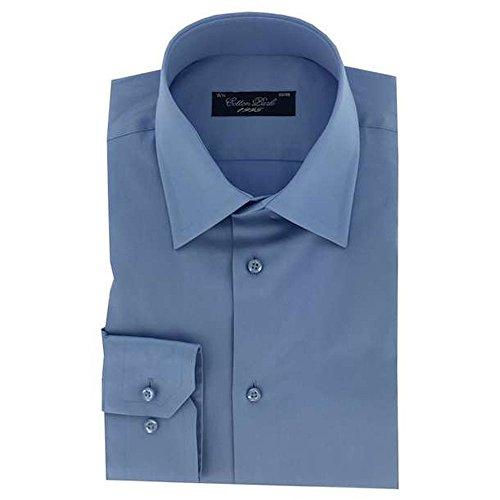 Cotton Park–Hemd 'Pino' Satin Blau Himmel–Herren