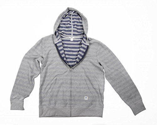 BLUEBIN Men's 100% Recycled Terry Rugby Striped Hoodie Large Aluminum/Mediterranean Blue (Rugby Hooded Striped)