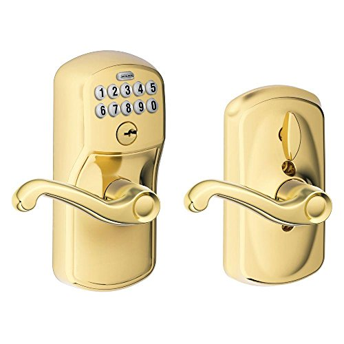 Keyless Entry Model - Schlage FE595 PLY 505 FLA Plymouth Keypad Entry with Flex-Lock and Flair Style Levers, Bright Brass