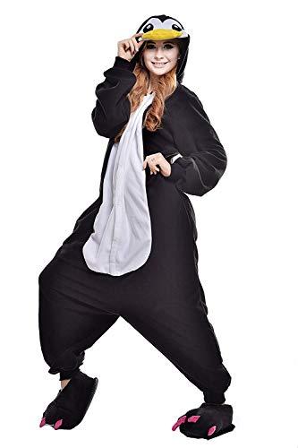 Women's Sleepwear Unisex Adult Hippo Pajamas- Plush One Piece Costume Christmas Costume (X-Large,Black Peguin)