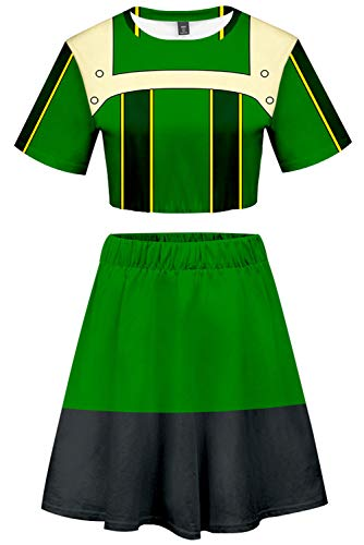 c8c06d5dca My Hero Academia Asui Tsuyu Cosplay Costume Cheerleader Cheerleading Uniform  Crop Top Dress