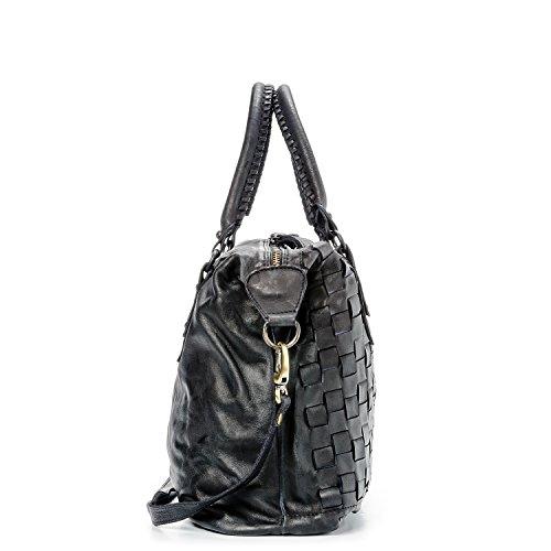 Ira del Valle, Borsa Donna, In Vera Pelle Intrecciata Vintage, Made in Italy, Modello San Francisco Bag, Borsa Grande a Mano e Spalla con Tracolla da Donna Ragazza nero