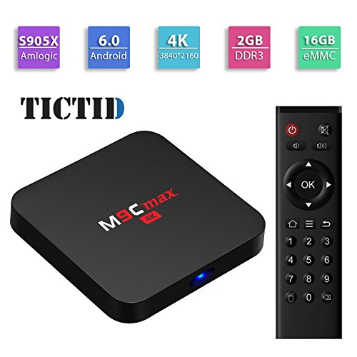 TICTID M9C max Android 6.0 TV Box Amlogic S905X Quad-core 64 bits [2GB DDR3/16GB eMMC] with H.265 HDMI 2.0 VP9 HDR Video Decoder 4k 2k Output 2.4G WIFI Streaming Media Player