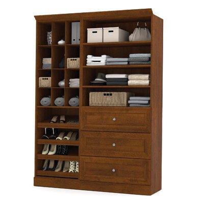 Bestar Versatile 61'' 2 Piece 3-Drawer Storage Unit Cubby in Tuscany Brown