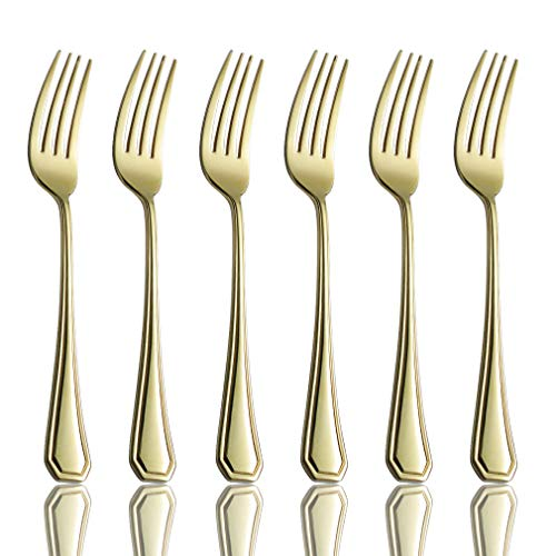 Salad Forks Set of 6, Champagne Gold Flatware Replacement 18/0 Stainless Steel Heavy Duty Silverware Dessert Fork, 7-Inch Appetizer Eating Utensils Set, 6-Piece Dinner Fork Mirror Finished, ()