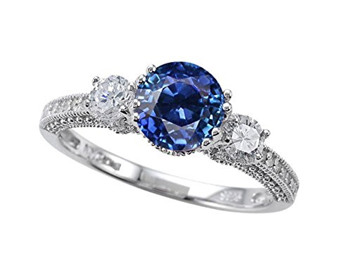 Star K 7mm Round Created Sapphire Ring Size 6 (Womens Blue Star Sapphire Rings)