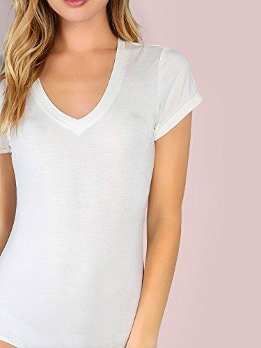 Damen Casual Body Frauen Bodysuit V-Ausschnitt Bieten Kurzarm Tanga Briefs  Overall Weiß JA4wh ... 6c4014d774