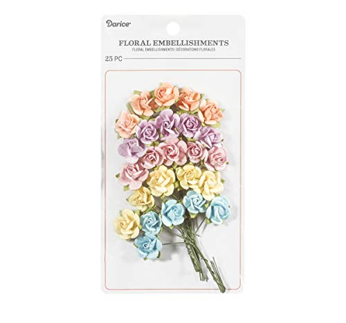 Darice 30062044 Mini Sachet Roses Floral Embellishment: Pastel, 0.75in, 25 Pack, Assorted (Pastel Embellishments Paper)