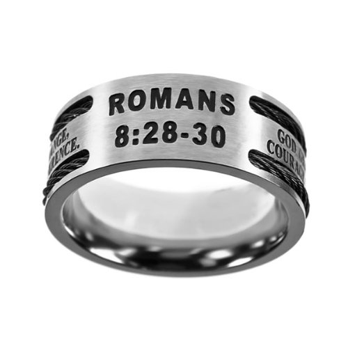 "Christian Mens Stainless Steel 10mm Abstinence Black Cable ""God Grant Me the Serenity to Accept What I Cannot Change, Courage to Change What I Can, Wisdom to Know the Difference"" Romans 8:28-30 Cable Black Enamel Comfort Fit Chastity Ring for Boys – Guys Purity Ring"