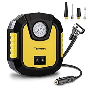 Tsumbay Portable Air Compressor, Air Compressor Pump 150 PSI, 12V Auto Digital Car Tire Inflator with Smart Preset Gauge and Flashlight Tire Pump for Cars (Air Pump with Battery Clamp)