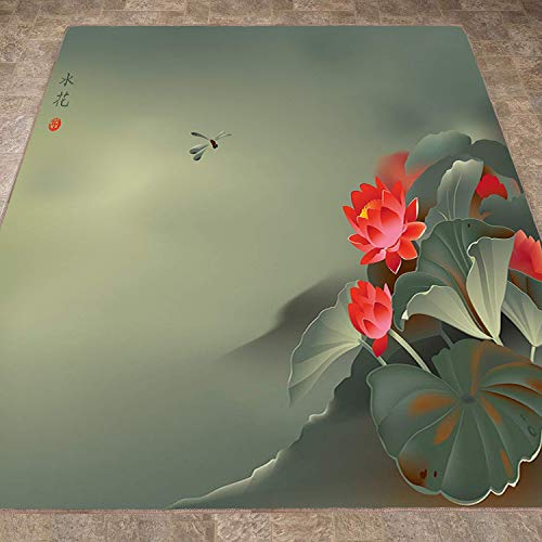 Rug,FloorMatRug,Dragonfly,AreaRug,Traditional Japanese Painting with Lotus Blooms in Hazy Tones Asian Design,Home mat6'6
