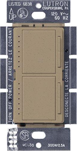 Ms Mocha Stone - Lutron Maestro Dual Dimmer Switch for Incandescent and Halogen Bulbs, 300-Watt, Single-Pole, MA-L3L3-MS, Mocha Stone