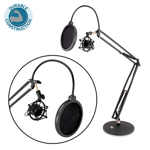 (Dual Suspension Springs and Metal Extension Support Arms, Maximum Mic Arm Extension Distance: 3.1' ft., Quick Setup: Easily Mount & Un-Mount Mics, Maximum Mic Arm Extension Dst: 3.1' ft.- Pyle PMKSH24)