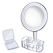 Patec 10X Magnifying Lighted Makeup Mirror with a Storage Box and a Small Mirror, Soft & Warm LED Light, Adjustable Brightness, 360° Rotation, Touch Activated, Cordless, Battery Operated