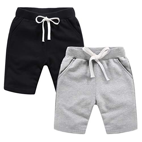 ALALIMINI Toddler Boys Gilrs Bike Shorts 2-Pack Active Jogger Cotton Knit Pants Black&Grey 120CM/5