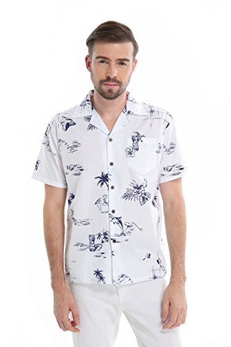 Navy Aloha Hawaiian Shirt - Men's Hawaiian Shirt Aloha Shirt S The Classic White Navy map Flamingo