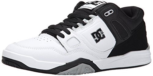 DC Men's Stag 2 Skate Shoe, White/Black/Armor, 6 M US