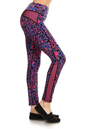 Leggings Depot Women's Printed Performance Activewear -Yoga Fitting Pants (Large/XL, Blue Raspberry Pop)