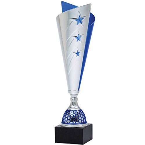 "15"" Silver Stars & Blue Metal Cup Trophy with Marble Base - Perfect Tournament & Competition Awards Trophy - Customize Now - Personalized Engraved Plate Included & Attached to Award - Decade - Silver Trophy Cup"