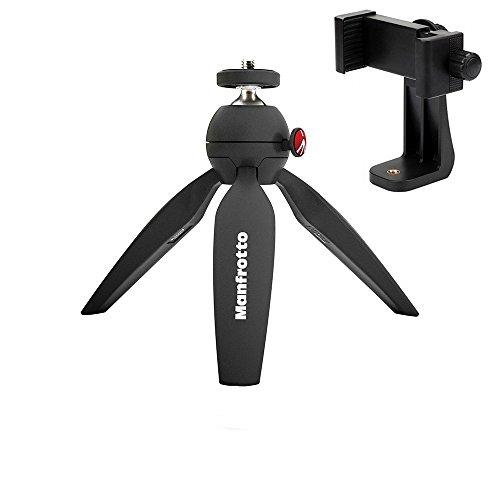Manfrotto MTPIXI-B PIXI Mini Tripod, Black A ZAYKiR Universal Smartphone Tripod Adapter (Best Way To Get A Higher Vertical Jump)