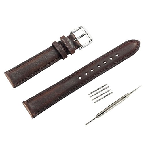 WOCCI+Leather+Watch+Strap+Vintage+Style+Bands+18mm+for+Men+and+Women%28Dark+Brown+with+Tone+on+Tone+Seam%29
