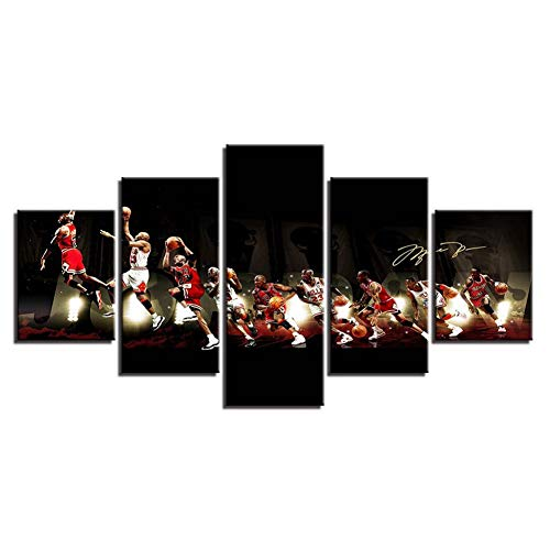 - LBHE 5 Panels Prints On Canvas Art Michael Jordan Basketball Game Painting Wall Pictures Decor Poster Artwork for Wall Decoration Gifts,B,40x60x2+40x80x2+40x100x1
