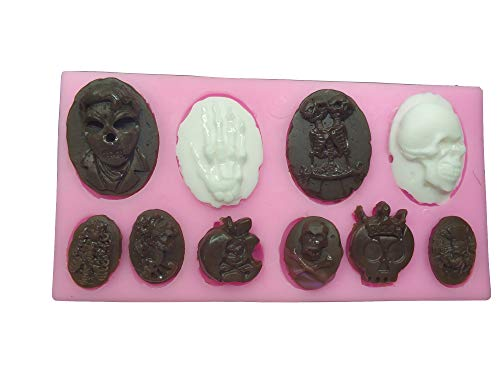 Skull Skeleton Fondant Silicone Mold Chocolate Mould Baking Cake decorating Tool cupcake Decoration Pastry Gumpaste Kitchen Sugarcraft Baking cooking Cookie Halloween