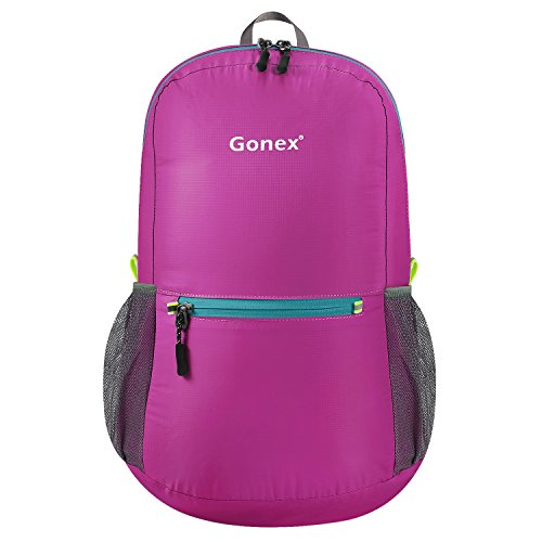 Gonex Ultra Lightweight Packable Backpack Hiking Daypack Handy Foldable Camping Outdoor Travel Cycling Backpacking(Rose Red) ()