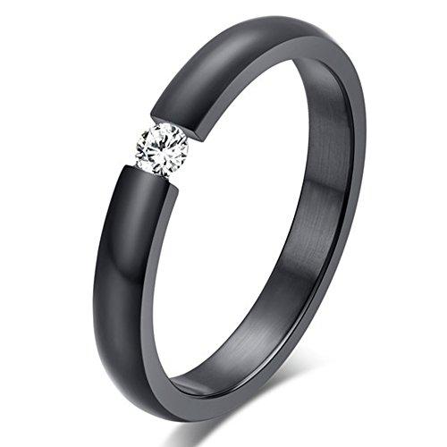 SAINTHERO Mens Womens Wedding Engagement Promise Rings Slim 3MM Titanium Steel 18K Black Gold CZ Bands Size 5 by SAINTHERO (Image #5)