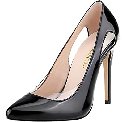SHOESFEILD Black Heels for Women, High Heels Fashion Transparent Pointed Toe Stiletto Cut Out Office Basic Slip On Stiletto Dress Pump Shoes(302-45,Black36)