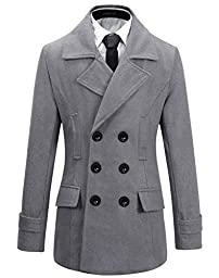 Benibos Mens Wool Slim Fit Double Breasted Half Trench Coat (L, Grey)