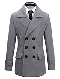 Mens Wool Slim Fit Double Breasted Half Trench Coat