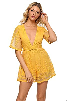 Eleter Women's Deep V-Neck Lace Romper Short Sleeve Long Dress