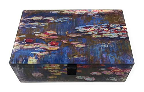 Value Arts Monet's Water Lilies Glass Keepsake Box, Beveled Glass, Velvet Lined, 5.75 Inches Wide ()