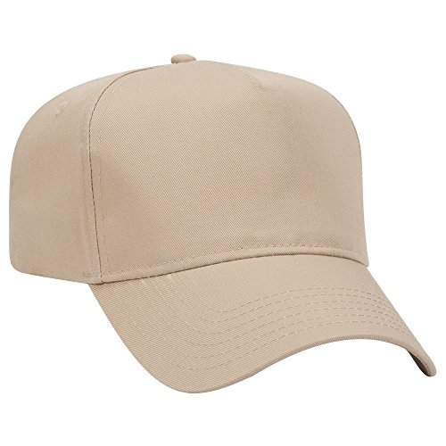 (OTTO Cotton Blend Twill 5 Panel Pro Style Baseball Cap - Khaki)